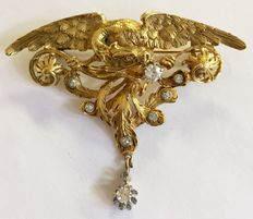 Solid gold antique Art Nouveau brooch in the shape of a flying dragon, France, circa 1900