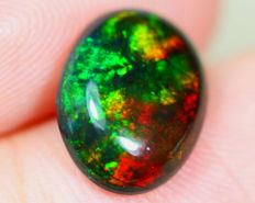 Rainbow Multi-color Play Solid Smoked Opal- 10.5 x 8 x 3.2mm -1.37ct