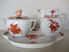 Herend porcelain - Chinese bouquet rust sugar bowl and milk jug on a matching tray