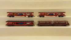 """Ibertren/Arnold N - 452/0498 - 4 car transporters of which 3 with """"BMW"""" cars of the DB"""