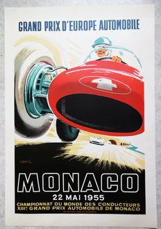 Large serigraphy of the Grand Prix of Monaco - J. Ramel - 1955
