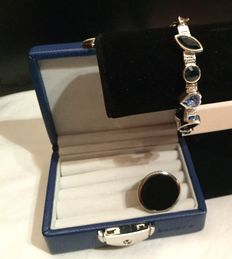 Dyrberg Kern bracelet and ring  -.  Bracelet is stainless steel with blue Swarovski crystals  Ring is stainless steel with big black round stone- size  EU 17. U.S. 8 -signed