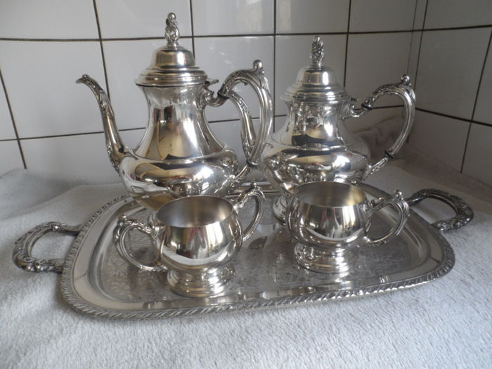 silver plated tea and coffee service on a tray, Oneida, United ...
