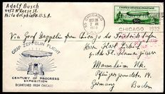 Zeppelin letter 1933 - Chicago trip with zeppelin stamp 50c green, from Chicago to Mannheim with Michel 358