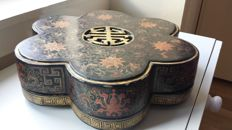 Red & gilt decorated black lacquer floriform supper set - China - early/19th Century.