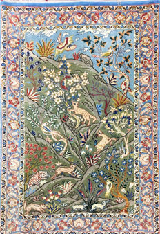 Persian carpet, very fine Isfahan with silk, 100 x 67 cm