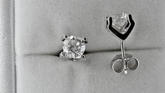 1.80 ct round diamond stud earrings 18 kt white gold