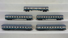 Minitrix N - 3076/3074/3075 - 5 High speed train Passenger carriages 1st and 2nd Class and a baggage/post carriage  of the DB