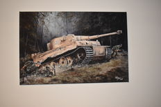 Reproduction Oil Painting on Canvas of a Tiger I Battle Tank, 75 x 50, Signed by its Creator
