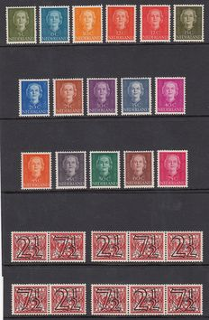 "The Netherlands 1940/1949 - Guilloche stamps and Juliana type ""En Face"" - NVPH 356a / 356d + 518/533."