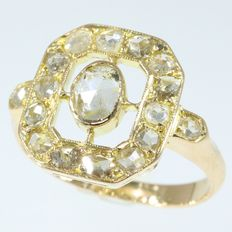 Octagon shaped gold diamond ring, ca. 1930