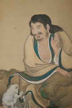 Scroll painting  Sennin, Chinese immortal  Liu Hai and Chan Chu  ( the three legged toad) - Japan - late 19th century