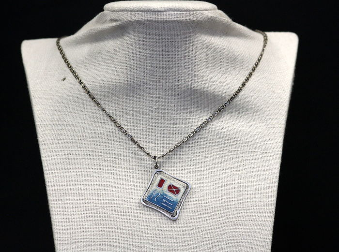 Sterling Solid Silver Necklace With Silver & Enamel Pendant, Birmingham 1911