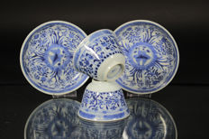 Set of two blue and white cups and saucers - China - 19th century