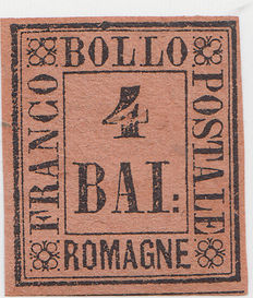 Romagne - 1859 – 4 bai stamp – Tawny brown colour – Sassone catalogue no. 5