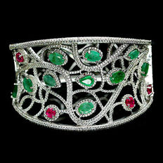 Silver (925) bracelet - 4 rubies and 10 emeralds