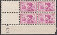 France - 4th centenary of the arrival of Jacques Cartier in Canada - 75 c lilac, 1934, Yvert no. 297, corner date