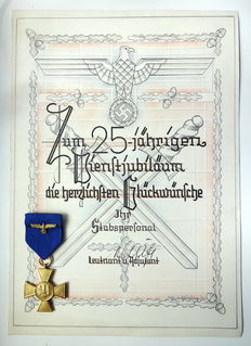 3 Reich Order and Certificate