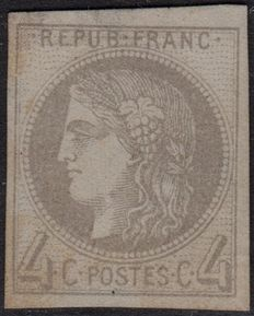 France 1870 - 4c Burgundy Report I n°41A (Yvert) - With numbered CALVES certificate