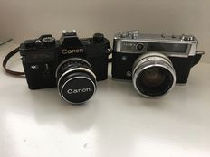 Canon FTb-N Black with FL 50mm 1.8 lens, Yashica Lynx 14E IC, Yashinon-DX 45mm 1.4