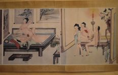 Oriental erotica; paper scroll with 8 Chinese erotic scenes-late 20th century