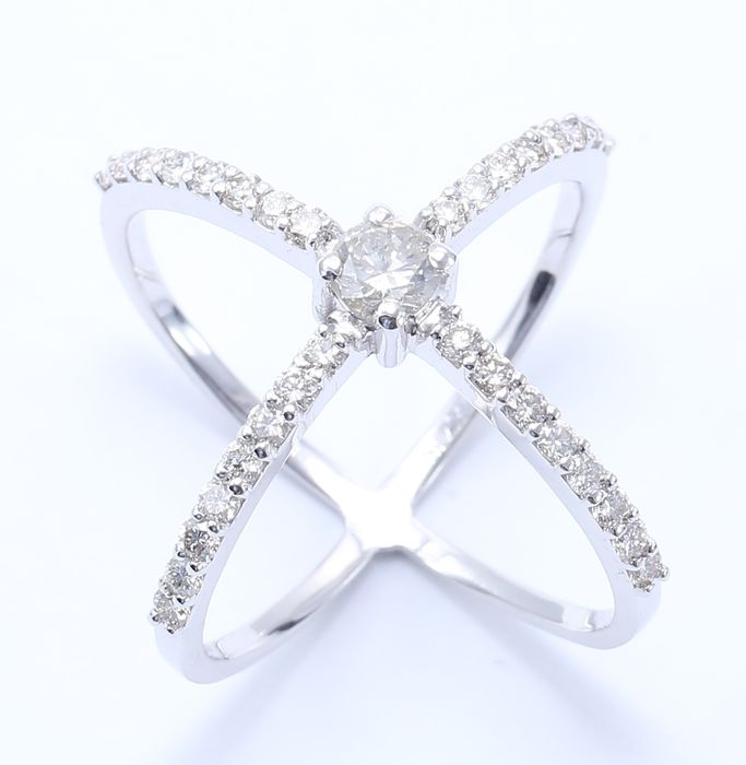 14kt White Gold Solitaire ring with Diamonds 1,03ct - Ring Size 54/17