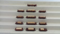 Roco/Minitrix N - 1957/51326600 - 13 Stake cars with load of wood of the DB