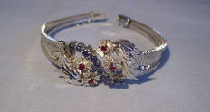 Antique silver bracelet with real sapphires and rubies of approx. 1.40 ct in total.