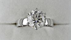 3.04 ct  round diamond ring made of 18 kt white gold - size 7.5