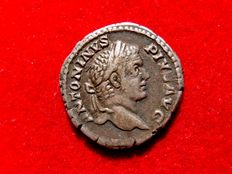 Roman Empire -  Caracalla (197 - 217 A.D.) silver denarius (3,20 g. 19 mm) from Rome mint, 206 A.D. VOTA SVSCEPTA X.