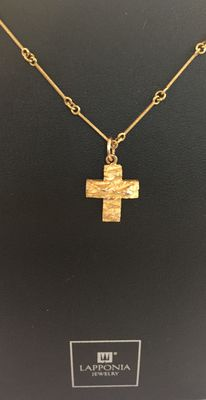 "Lapponia – ""Lapland Cross"" Gold necklace and pendant – necklace length 42 cm"