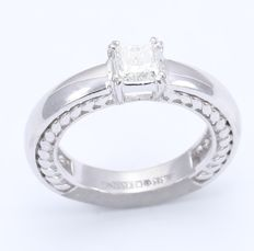 IGI Certified Mens 14kt White Gold Princess Cut Solitaire Diamond Ring-  0.96 ct. I/I1 - size 58
