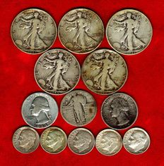 United States – Dime, Quarter and Half Dollar 1925/1964 (set of 13 coins) – Silver