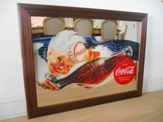 Large advertising mirror for Coca-Cola from 1980