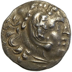 "East Celts - GALATAR, imitation type ""Alexander III."" (~300 BC) AR drachm, head of Heracles, grapes"
