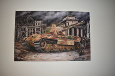 Tiger II Battle Tank Reproduction Oil Painting on Canvas, 75 x 50, Signed by its Creator
