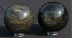 Gold Obsidian - 74.9mm - 525gm and 72.6mm - 468gm  (2)