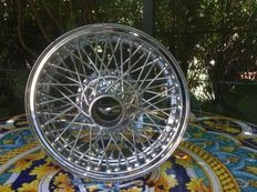 5 new old stock chrome wire wheels OFFICINE BORRANI MILANO, measuring 5.5x13'', made in Italy, perfect, rays no. 60 each.