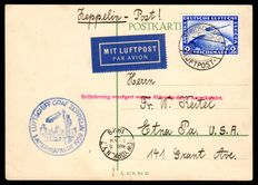 """German Reich - 1928 - """"airship Graf Zeppelin 1st South America journey, LZ 127 on run postcard with 2RM Zeppelin stamp to USA"""", Michel 423"""