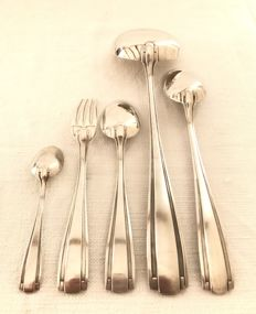 Boulenger - Complete Art Deco cutlery canteen for 12 persons (38 pieces), in silver plated metal - in its original box