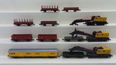 Minitrix/Roco/Fleischmann N - 51316000/2350/5205 - 12 Piece works train with 3 crane wagons, flatcars, stanchion cars, open boxcars and one personnel carriage of the DB