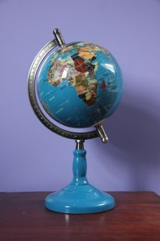 World Globe of Turquoise and 45 various Precious Stones, inlaid with 14ct Gold Leaf - 420mm - 4kg
