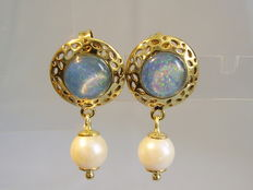 Earrings with fine iridescent opals and genuine white Akoya pearls