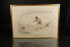 Painting of a man with a duck – China – Early 20th century