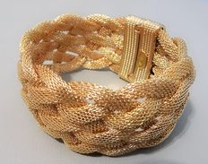 Signed KENNETH JAY LANE – Gold plated Mesh Bracelet