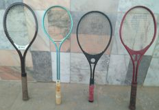 Vintage Lot of 3 Tennis Rackets + 1 Squash Racket  _ from the years 60/70's