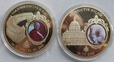 2 giant medals gold-plated 70 mm - Pope John Paul II. / Pope Benedict XVI.