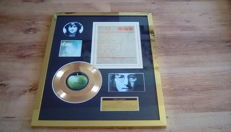 "John Lennon "" Imagine ""24kt gold plated record and printed lyrics display ."