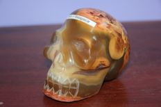 Fine Agate with Carnelian sculpted skull - 110 x 70 x 90mm -  900gm