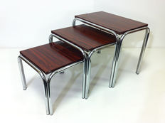 Designer unknown – vintage mid-century modern mimiset in chrome and rosewood